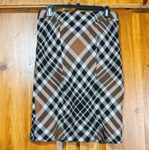 Anne Klein Black & Tan Plaid Skirt S 4/6
